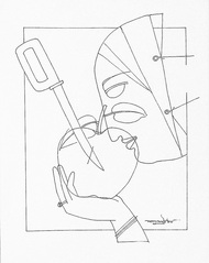 Untitled by Lalu Prasad Shaw, Illustration Drawing, Pen on Paper, White color
