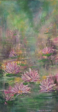 Basho's Pond by Mahesh Sharma, Impressionism Painting, Acrylic on Canvas, Brown color