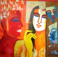 COLOR of LOVE by Chaitali Mukherjee, Traditional Painting, Acrylic on Canvas, Brown color