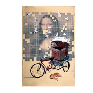 mona by Ganesh Jadhav , Pop Art Painting, Mixed Media on Canvas, Cream color