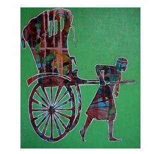 cycle rickshaw 03 by Ganesh Jadhav , Pop Art Painting, Acrylic on Board,