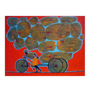 Cycle Rickshaw 04 by Ganesh Jadhav , Pop Art Painting, Acrylic on Board,