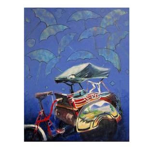cycle rickshaw 05 by Ganesh Jadhav , Pop Art Painting, Oil on Canvas, Blue color