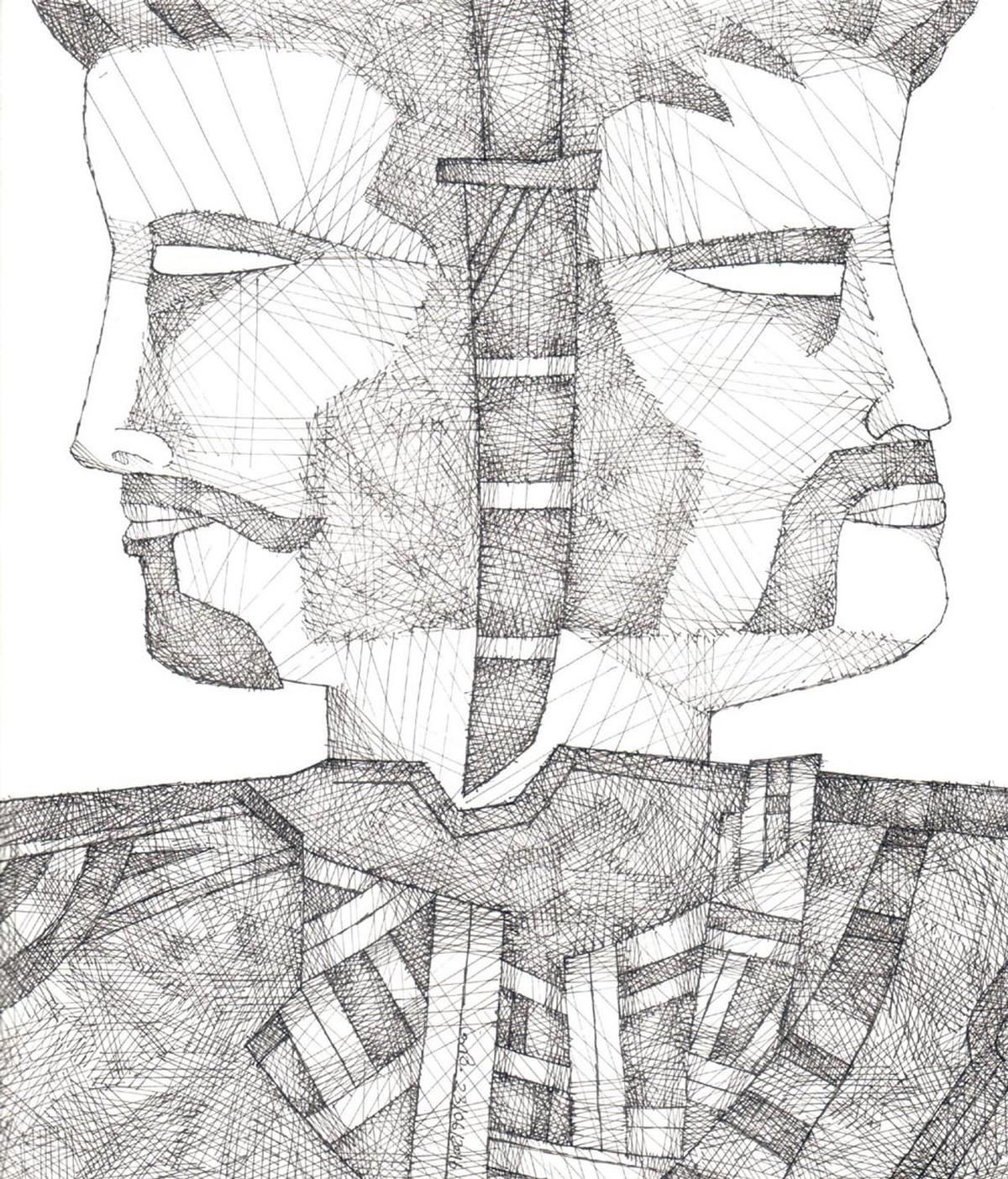Karna-Arjun by Amit Biswas, Illustration Drawing, Pen & Ink on Paper, Grey color