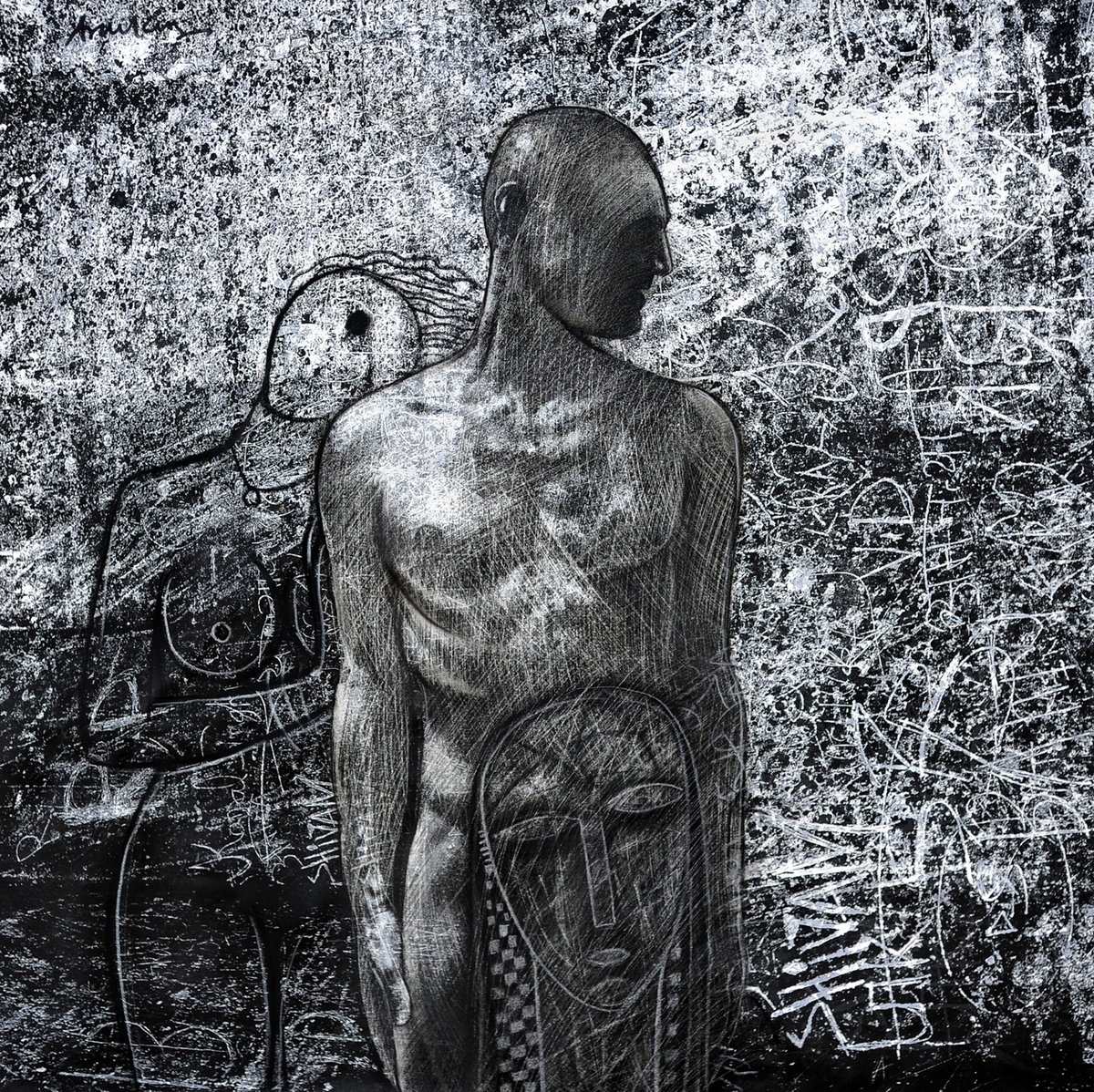 x lover by Arun K Mishra, Expressionism Painting, Mixed Media on Canvas, Grey color