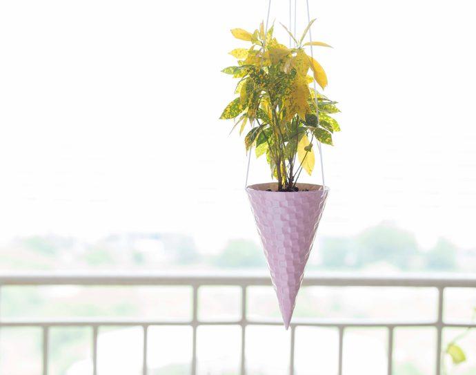 PoppadumArt Ice-cream Cone Planter - Strawberry Garden Decor By PoppadumArt