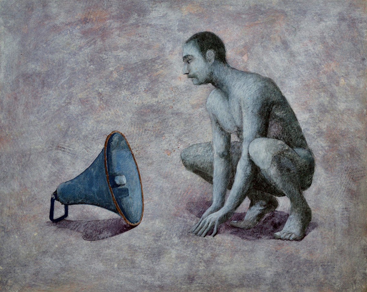 His Master's Voice by Sanjay K Sharma, Traditional Painting, Acrylic on Paper, Beige color