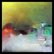 The Village by M Singh, Abstract Painting, Acrylic on Canvas, Green color
