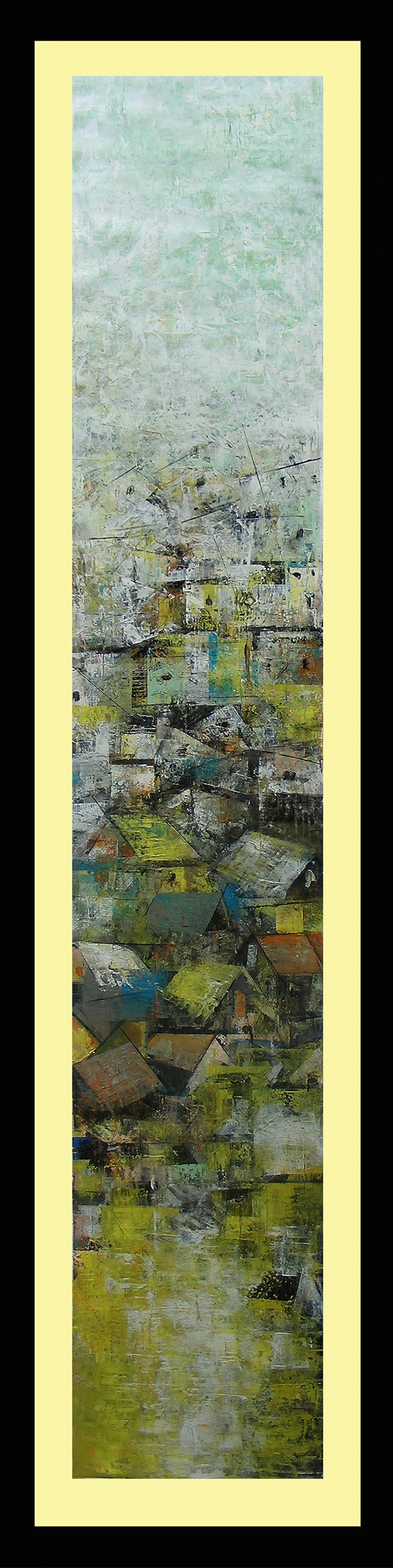 Title a glimpse of village  %28with framed%29   acrylic on canvas  48 x 9 in