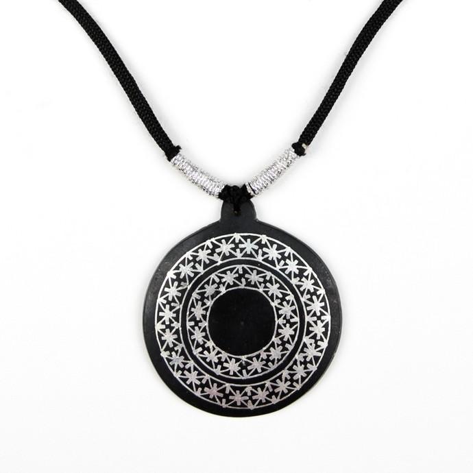 Bidri Pendant necklace 2 Fulzadi Circles by Bidriwala, Contemporary Necklace