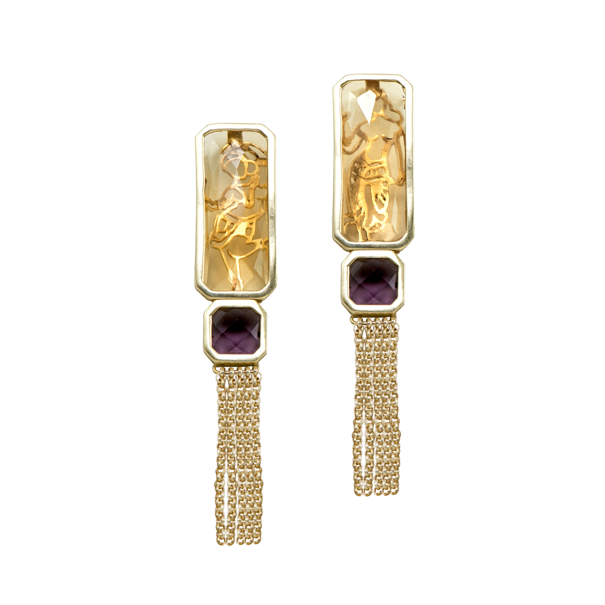 Citrine/Amethyst Mohini Earrings by Nine Vice, Art Jewellery Earring