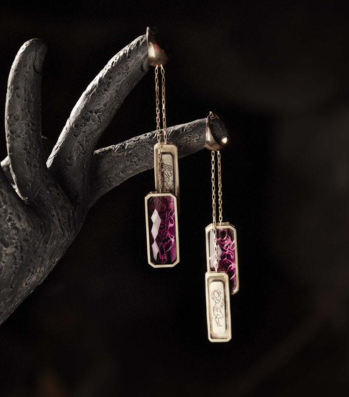 Mohini Earrings in Tourmalines by Nine Vice, Art Jewellery Earring