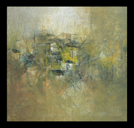 Village reflections by M Singh, Impressionism Painting, Acrylic on Canvas, Beige color