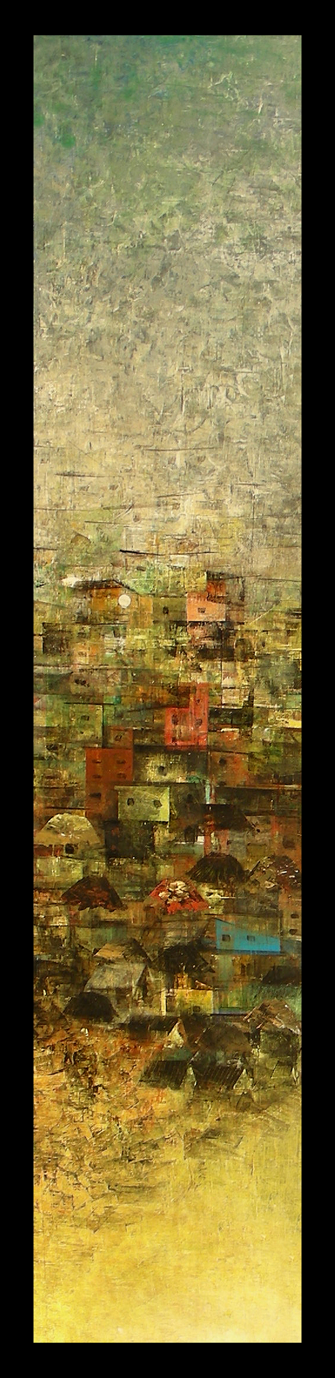 A glimpse of village_II by M Singh, Impressionism Painting, Acrylic on Canvas, Beige color