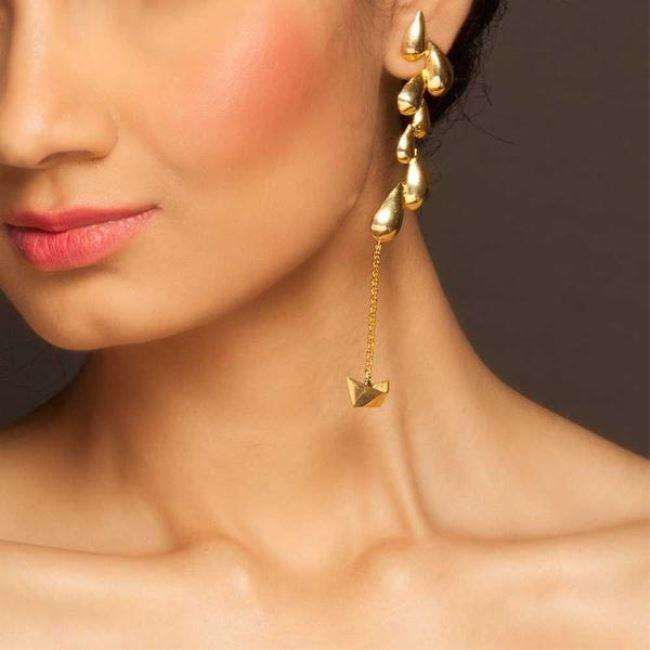 Paper Boat Earrings by Eina Ahluwalia, Art Jewellery Earring