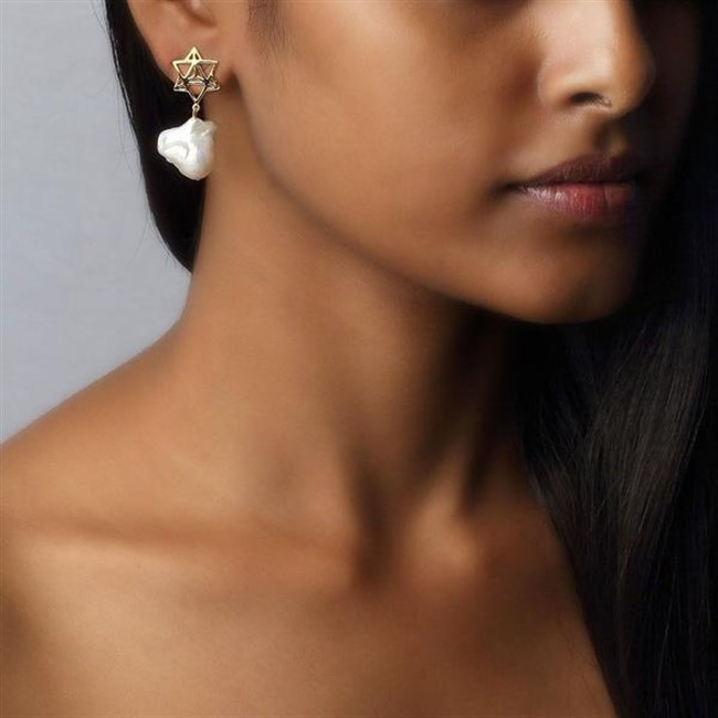 Star Tetrahedron Baroque Pearl Earrings by Eina Ahluwalia, Contemporary Earring