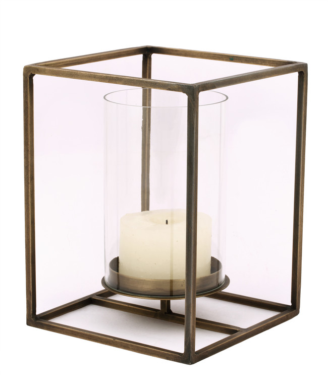 The lohasmith   cuboid candle holder in antique brass   large %28side view%29