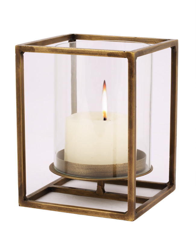 The lohasmith   cuboid candle holder in antique brass   small %28flame side view%29
