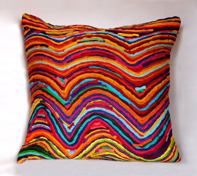 Wave   multicolor    cushion cover  18 x 18