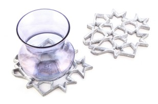 Jaali Coaster Set of 2 Al Table Ware By AnanTaya