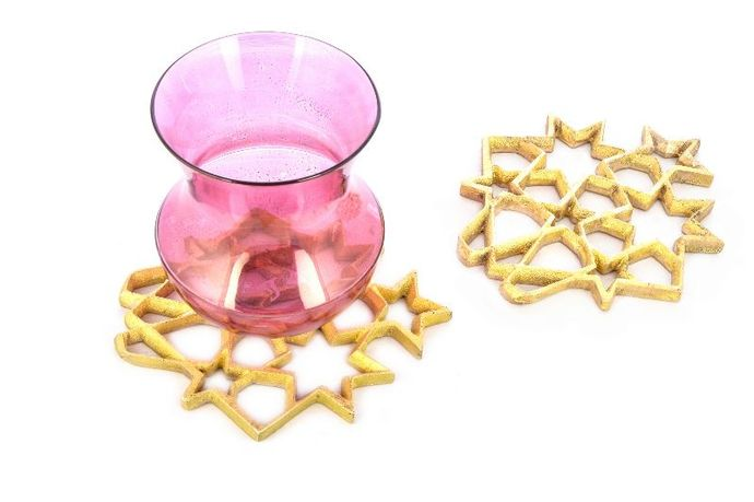 Jaali Coaster Set Of 2 Br Table Ware By AnanTaya