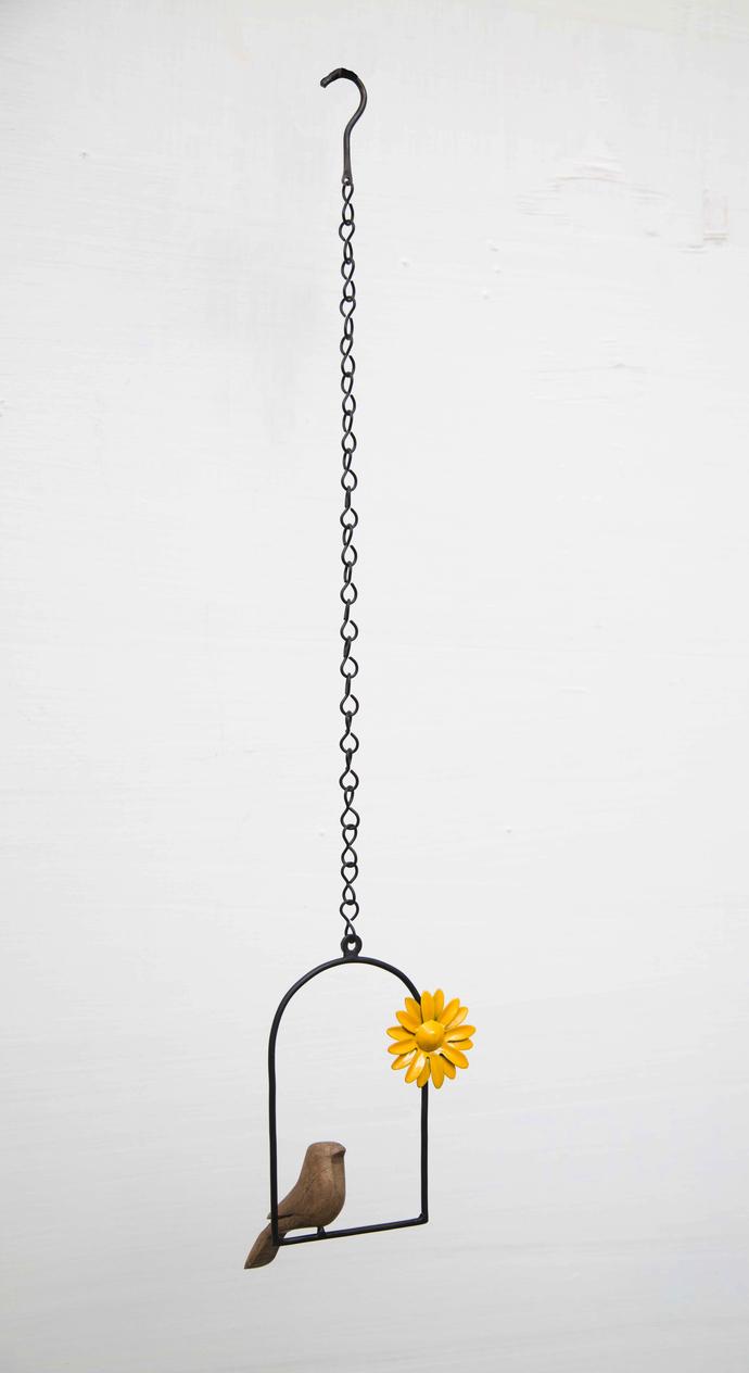 Hanging Bird Flower-Yellow Garden Decor By Studio Earthbox
