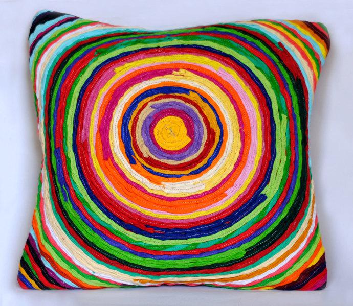 Katran Cushion : Chakri Pattern : Multicolor Cushion Cover By Sahil & Sarthak