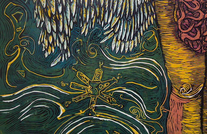 Somatic Escalation by Vasundhara Anand, Expressionism Printmaking, Wood Cut on Paper, White color