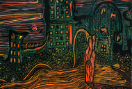 Madman's Labyrinth by Vasundhara Anand, Impressionism Printmaking, Linocut Print on Paper, Brown color