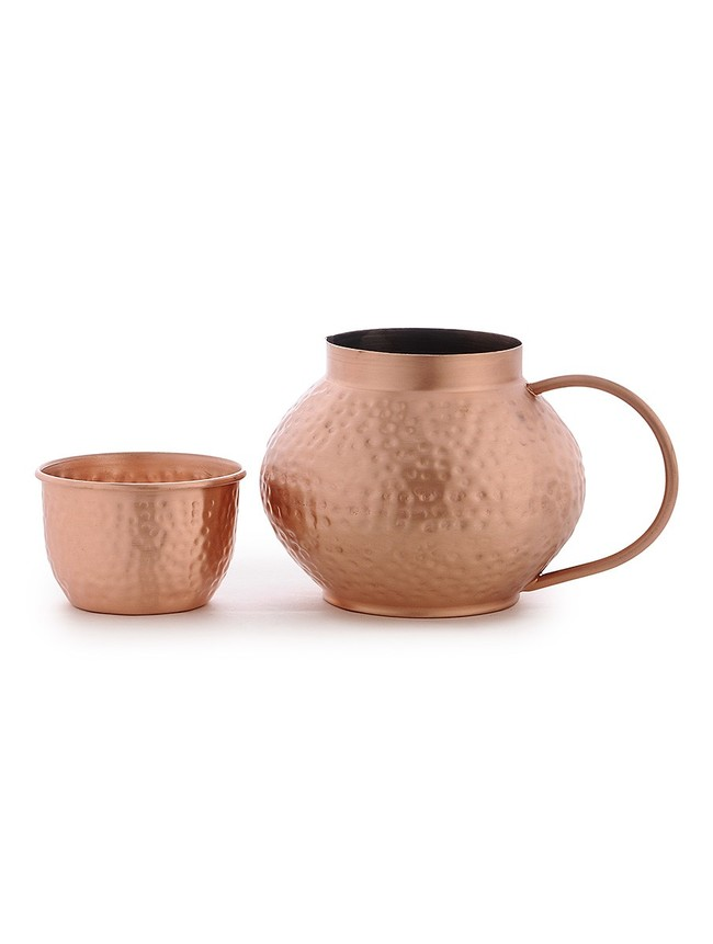 Jaipuri copper jug with glass2