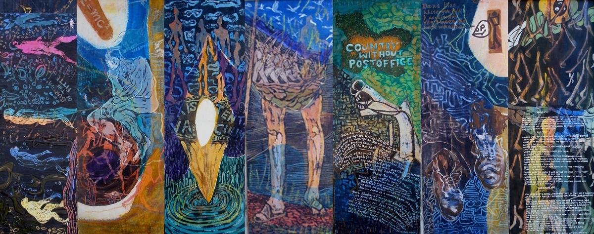 Walking Man - Evolution Story by Waseem Mushtaq Wani, Conceptual Painting, Mixed Media on Paper,