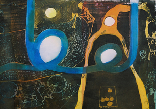 LUFZ (WORD) LUFZ SERIES by Waseem Mushtaq Wani, Expressionism Painting, Mixed Media on Paper,