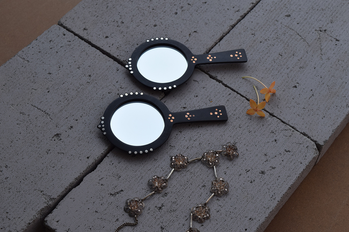 Bejewel Hand Mirror - Round Looking Mirror By Studio Coppre