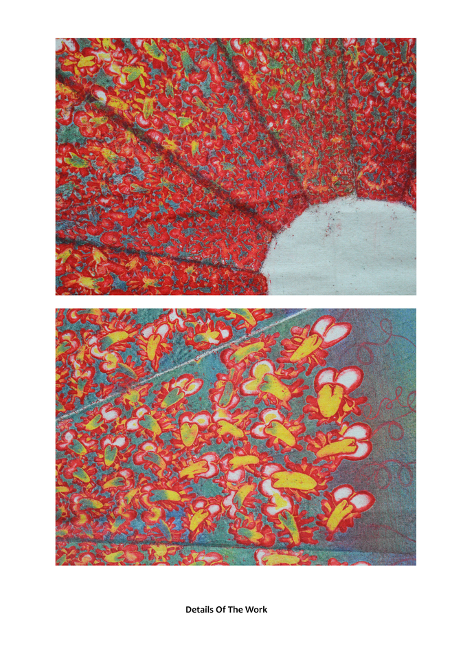 Untitled by Lajja Shah, Geometrical Printmaking, Mixed Media on Cloth, Brown color