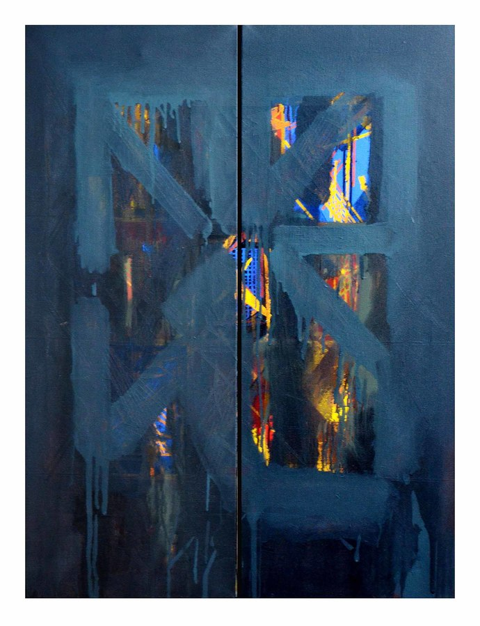 Untitled by Nivas Kanhere, Impressionism Painting, Acrylic on Canvas, Blue color