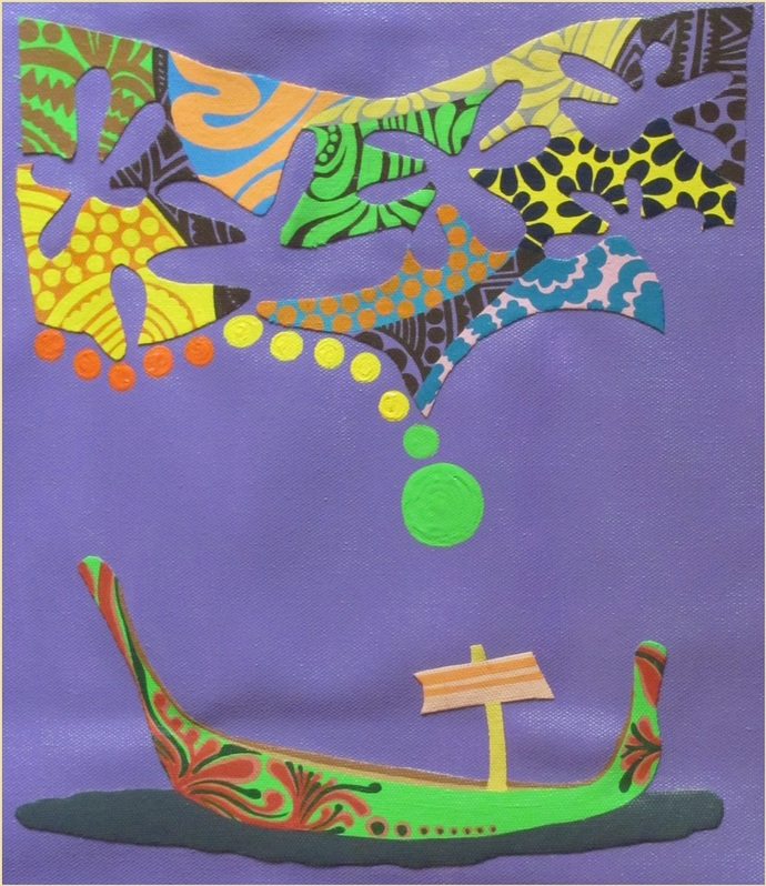 Nature Boat Series 7 by Barkha jain, Expressionism Painting, Mixed Media on Canvas, Blue color