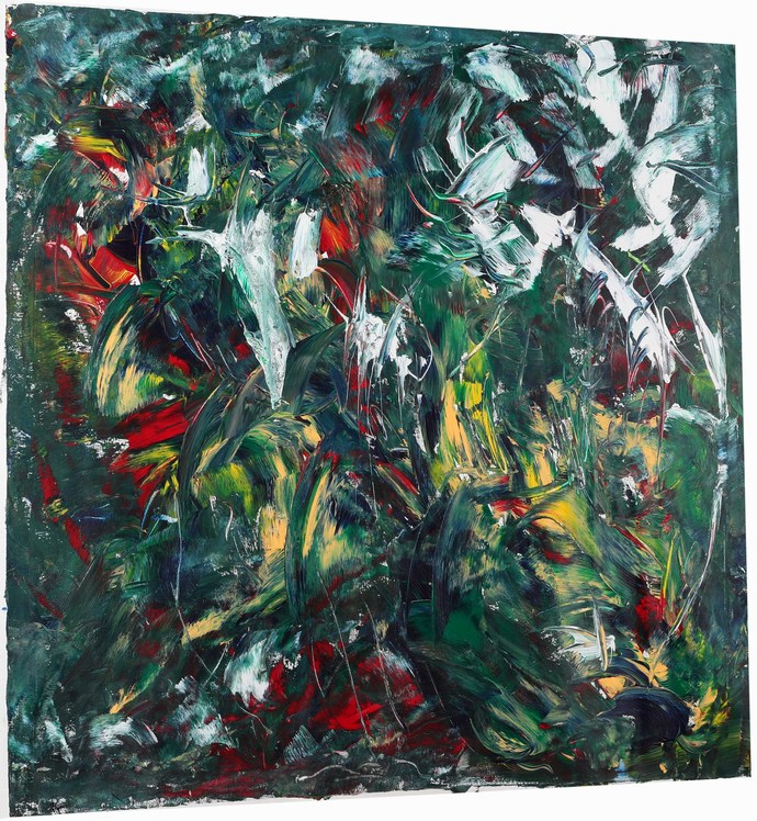 Following the light by Bharat Thakur, Abstract Painting, Acrylic on Canvas, Green color