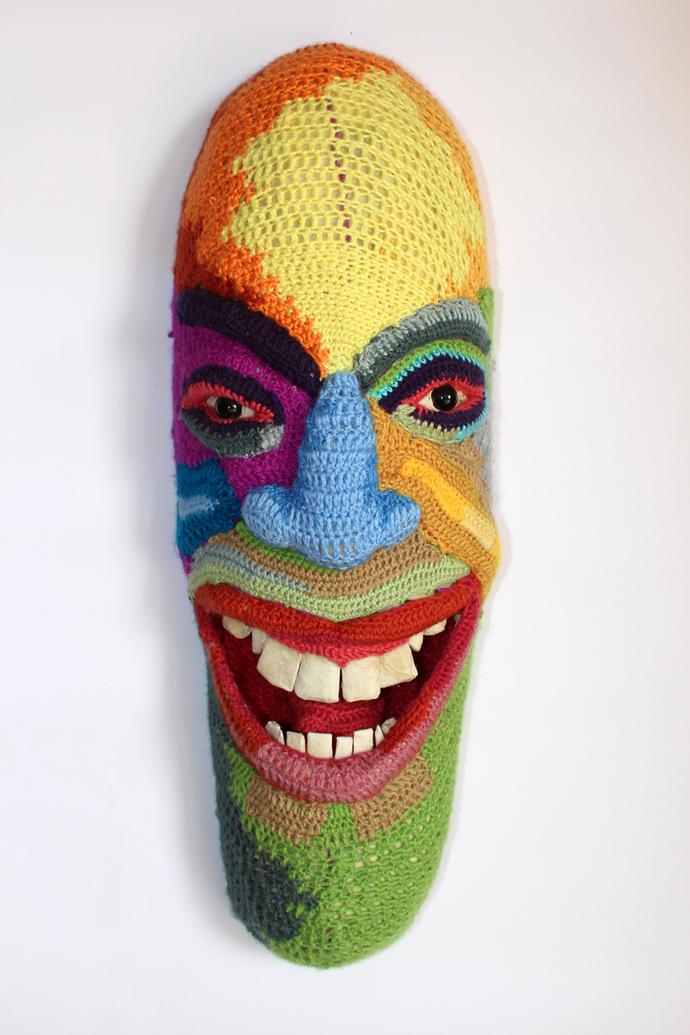 Mask 08 by Archana Rajguru, Art Deco Sculpture | 3D, Mixed Media, Gray color