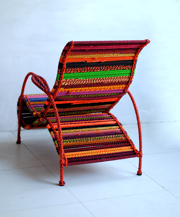 Seraphina Chair in Orange Multicolor Furniture By Sahil & Sarthak