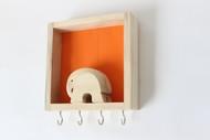 IVEI wood and Khadi combination elephant key holder Wall Decor By i-value-every-idea