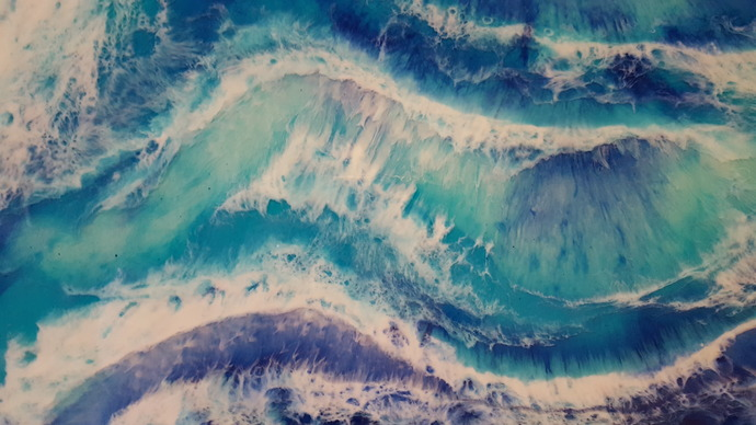 Blue wave3 by Anjalee S Goel, Abstract Painting, Mixed Media on Wood, Blue color