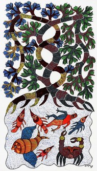 Gond painting showcasing migratory birds in madhya pradesh. by Brajbhushan Dhurve, Tribal Painting, Acrylic on Canvas, Gray color