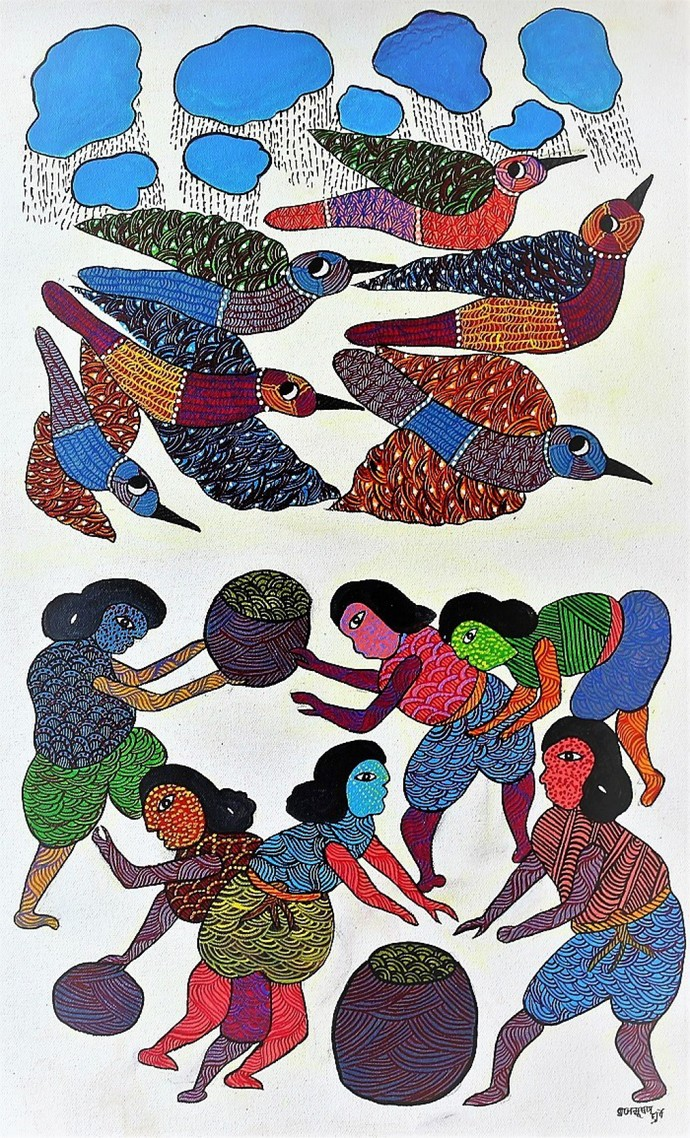 Gond painting of tribal ladies working during monsoon season. by Brajbhushan Dhurve, Tribal Painting, Acrylic on Canvas, Gray color