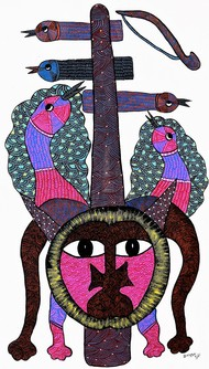 Gond painting illustration. by Brajbhushan Dhurve, Tribal Painting, Acrylic on Canvas, Brown color