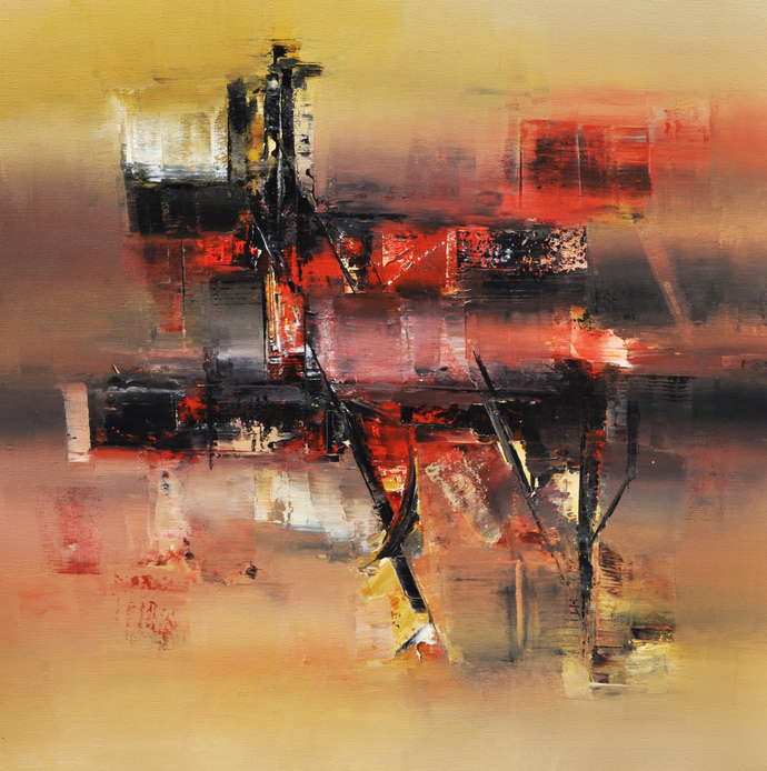 Ocher Symphony by Raju Durshettiwar, Abstract Painting, Acrylic on Canvas, Brown color