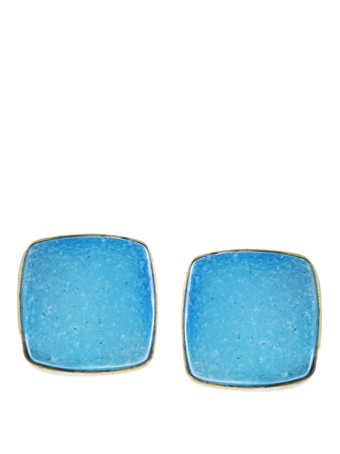Gold Tone Blue Brass by IMLI STREET, Contemporary Earring
