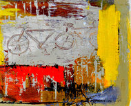Cycle Experience by Ravi kumar Yogi, Abstract Painting, Acrylic on Paper, Beige color