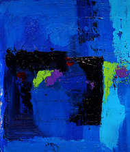 Cycle Experience 47 by Ravi kumar Yogi, Abstract Painting, Acrylic on Paper, Blue color