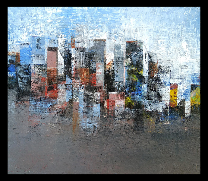 Impression of City by M Singh, Geometrical Painting, Acrylic on Canvas, Gray color