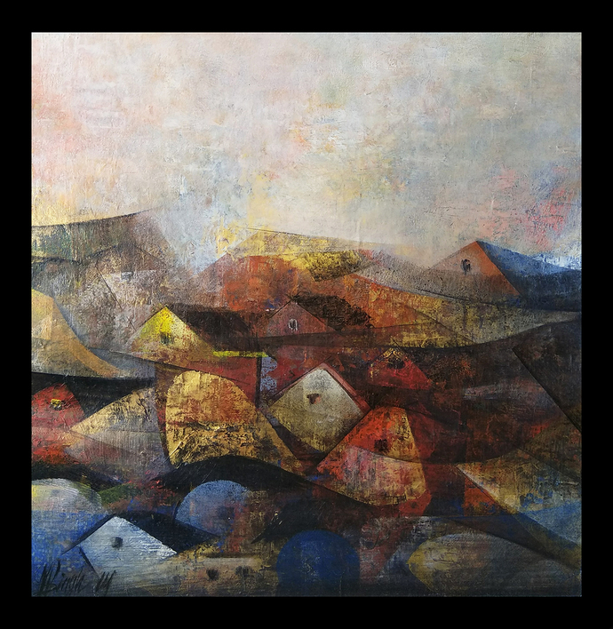Golden Village by M Singh, Geometrical Painting, Acrylic on Canvas, Brown color